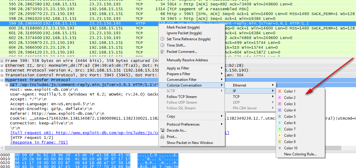 Wireshark Colorize Conversion