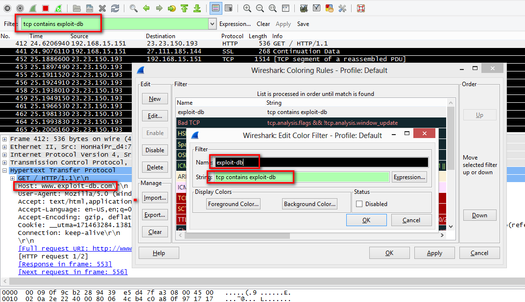 Wireshark Custom Color Rule
